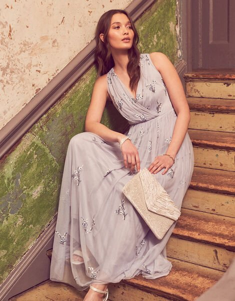 Marisa Embroidered Maxi Dress Blue, Blue (BLUE), large