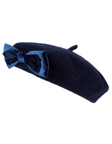 Jamie Velvet Pearl Bow Beret Blue, Blue (NAVY), large