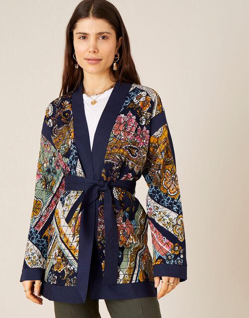 Jessie Printed Short Jacket, Blue (NAVY), large