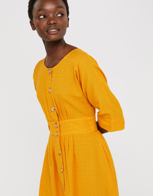 Etna Midi Dress in Pure Cotton, Ochre, large