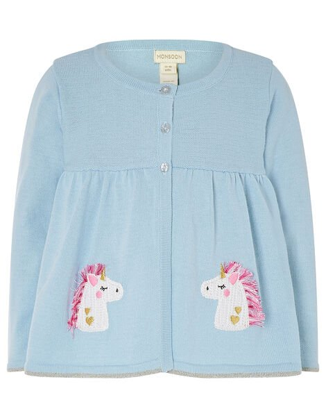 Baby Unicorn Cardigan in Pure Cotton Blue, Blue (BLUE), large