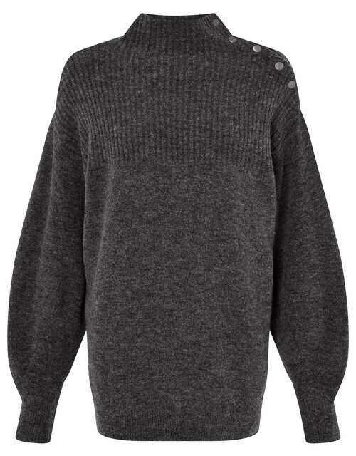 LOUNGE High Neck Knit Jumper , Grey (CHARCOAL), large