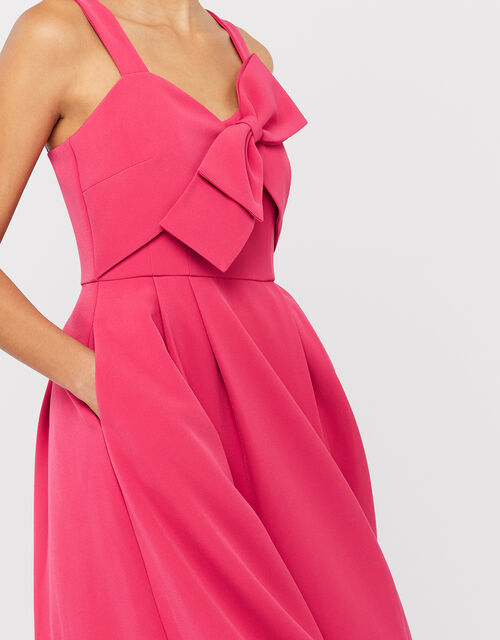 Alexa Bow Fit and Flare Dress, Pink, large