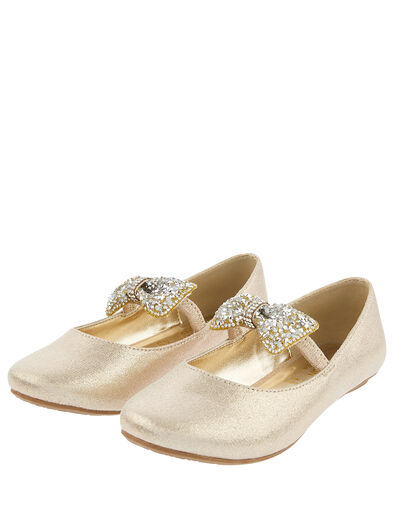 Dawn Dazzle Bow Ballerina Flats Gold, Gold (GOLD), large