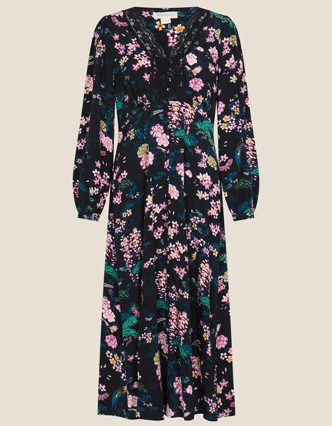 Print Lace Midi Dress Black, Black (BLACK), large