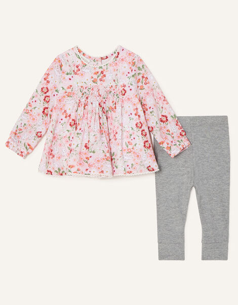 Newborn Bunny Floral Top and Leggings Pink, Pink (PINK), large