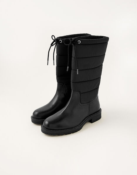 Quilted Leather Boots Black, Black (BLACK), large