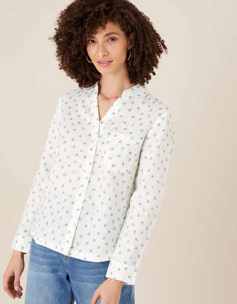 Patsy Spot Shirt in Pure Linen Ivory, Ivory (IVORY), large