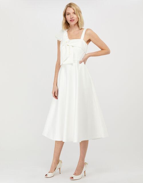 Carrie Bridal Satin Bow Midi Dress, Ivory (IVORY), large