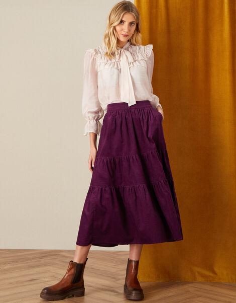 Tia Tiered Cord Skirt Purple, Purple (PLUM), large