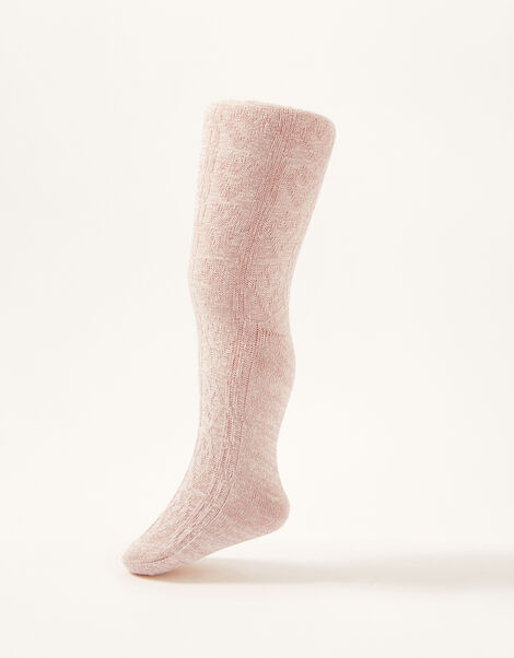 Baby Sparkle Cable Knit Tights Pink, Pink (PINK), large