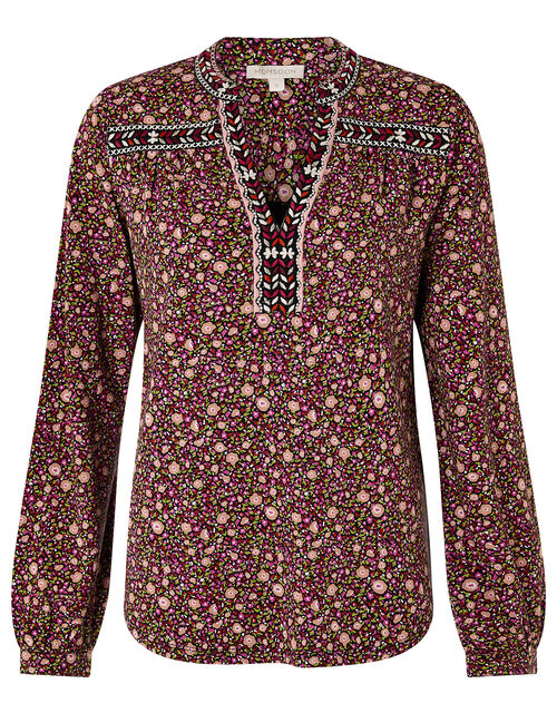 Embroidered Trim Floral Blouse, Red (RED), large