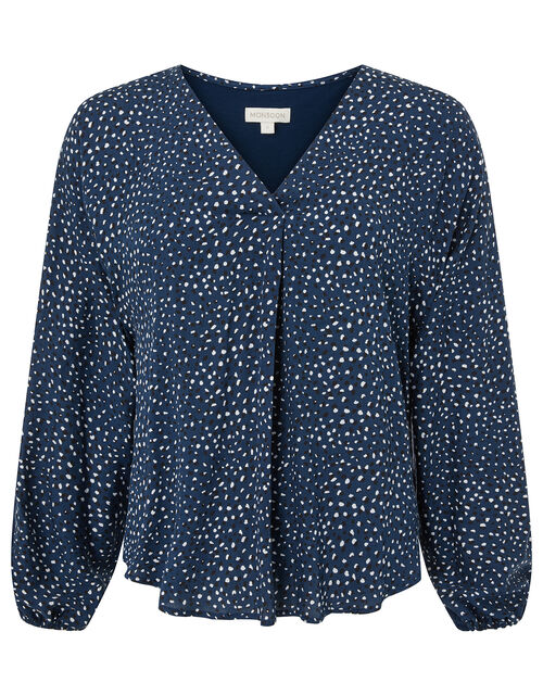 Ditsy Print Woven Front Jersey Top, Blue (NAVY), large