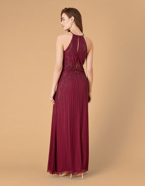 Belle Bead Embellished Maxi Dress in Recycled Fabric, Red (BERRY), large