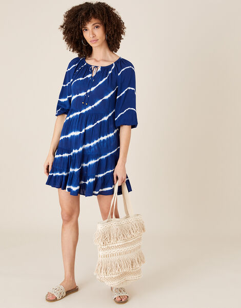 Tie-Dye Tunic Dress in LENZING™ ECOVERO™ Blue, Blue (NAVY), large
