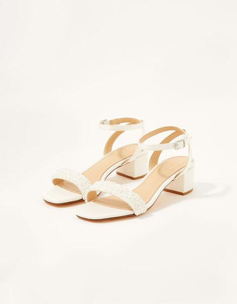 Low Heeled Beaded Strap Bridal Sandals  Ivory, Ivory (IVORY), large