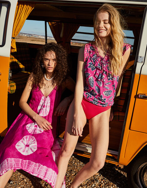 Rosanna Printed Ruffle Jersey Top Pink, Pink (PINK), large