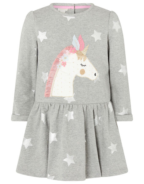 Baby Unicorn Sweat Dress in Pure Cotton Grey, Grey (GREY), large