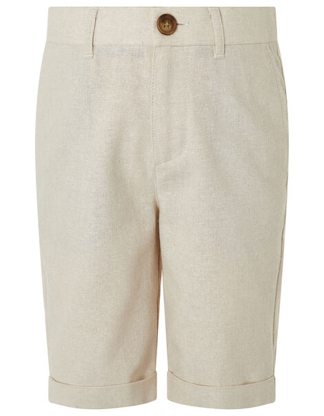 Sebastian Smart Shorts in Linen Blend Natural, Natural (STONE), large