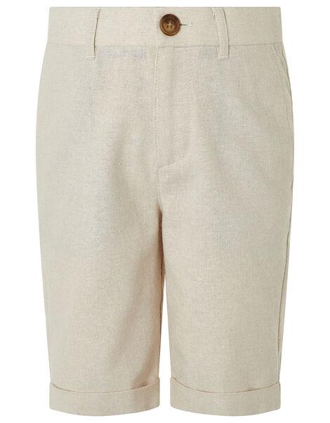 Sebastian Smart Shorts in Linen Blend Natural, Natural (STONE), large