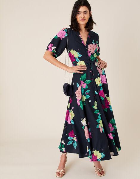 Una Floral Print Shirt Dress Blue, Blue (NAVY), large