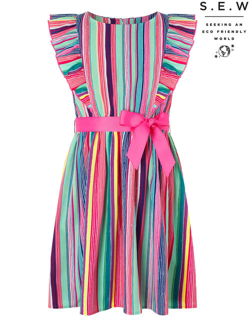 Ophilia Colourful Stripe Dress in Recycled Polyester, Multi (MULTI), large