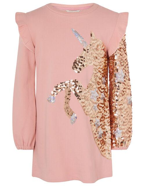 Sequin Unicorn Sweat Dress in Organic Cotton, Pink (PINK), large