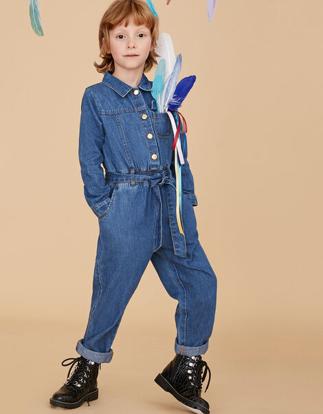 Long Sleeve Denim Jumpsuit Blue, Blue (BLUE), large