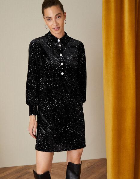 Nessa Button Glitter Velvet Dress Black, Black (BLACK), large