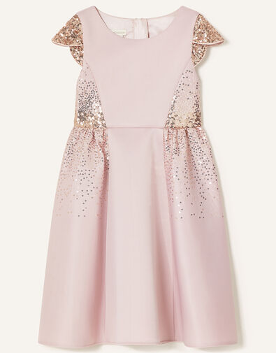 Sequin Scuba Dress Pink, Pink (DUSKY PINK), large
