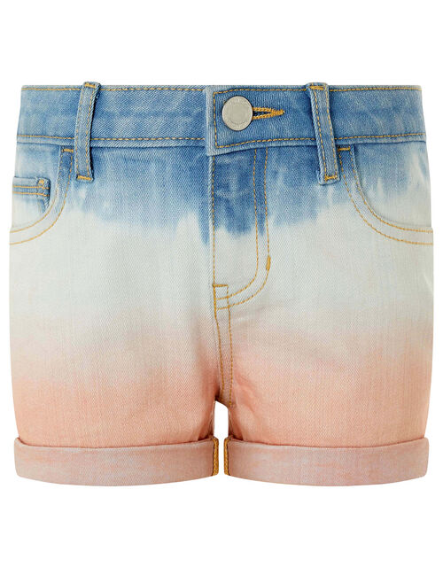 Darlene Tie-Dye Denim Shorts, Blue (BLUE), large