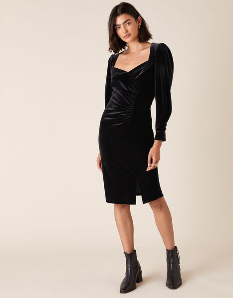 Emily Stretch Velvet Shift Dress Black, Black (BLACK), large