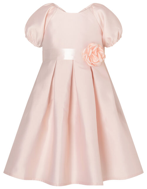 Baby Corsage Belt Duchess Twill Dress, Pink (PINK), large