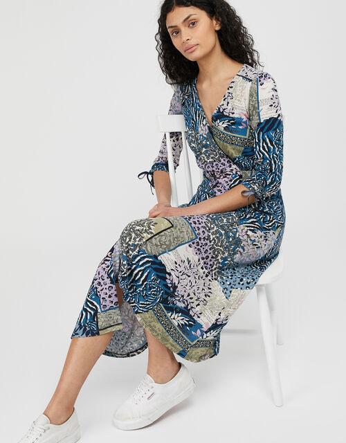 Payton Printed Midi Dress with Organic Cotton, Blue (NAVY), large