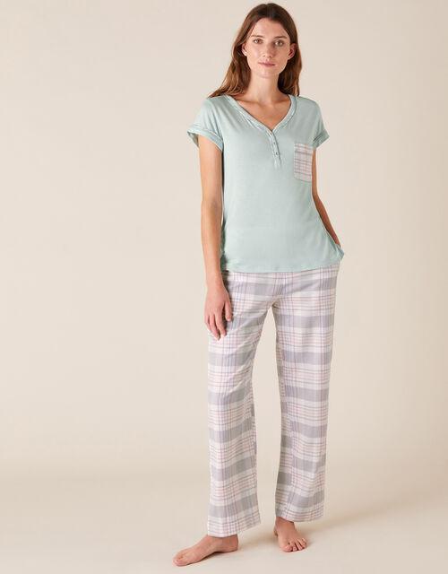 Check Print Pyjama Bottoms in Pure Cotton, Grey (GREY), large