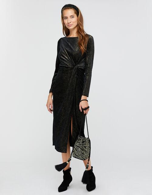 Robyn Foil Print Velvet Midi Dress, Black (BLACK), large