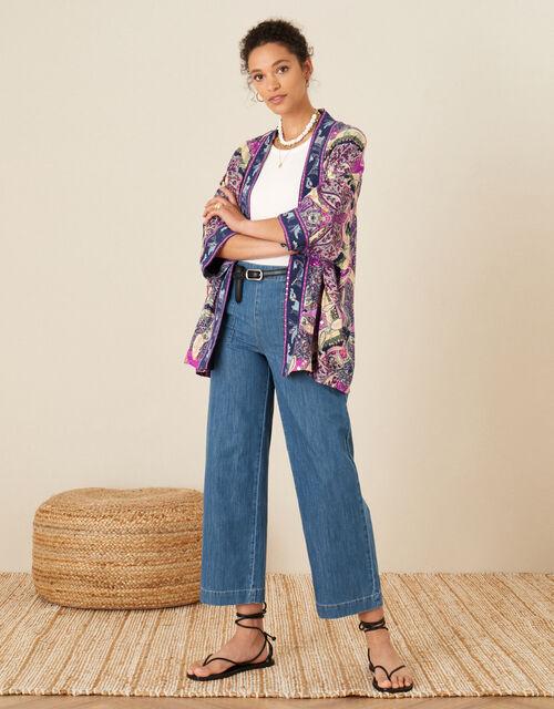 Sequin Paisley Print Kimono, Pink (PINK), large