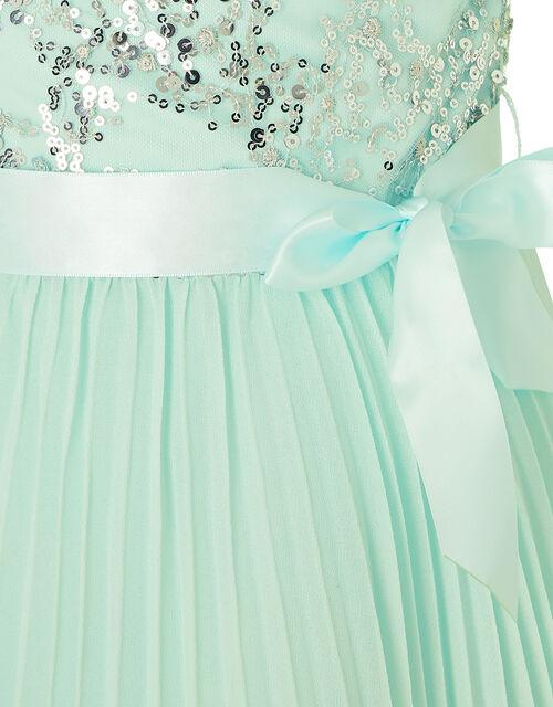 Bellissia Sequin Pleated Dress , Green (MINT), large