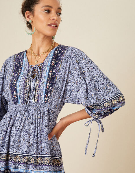 Carmel Printed Dress Blue, Blue (NAVY), large