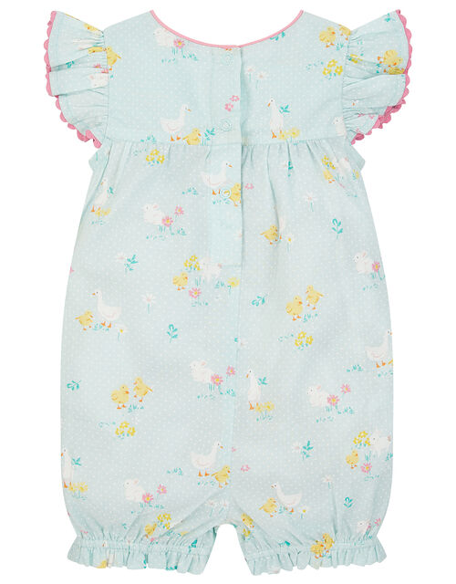 Newborn Chick Printed Romper , Blue (BLUE), large