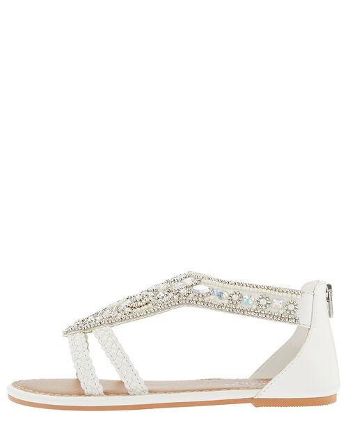 Diamond Shape White Beaded Sandal , White (WHITE), large