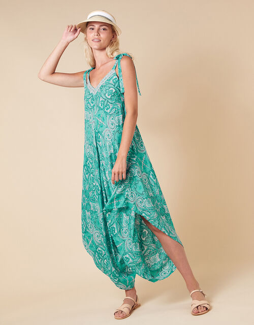 Paisley Print Romper in LENZING™ ECOVERO™, Green (GREEN), large