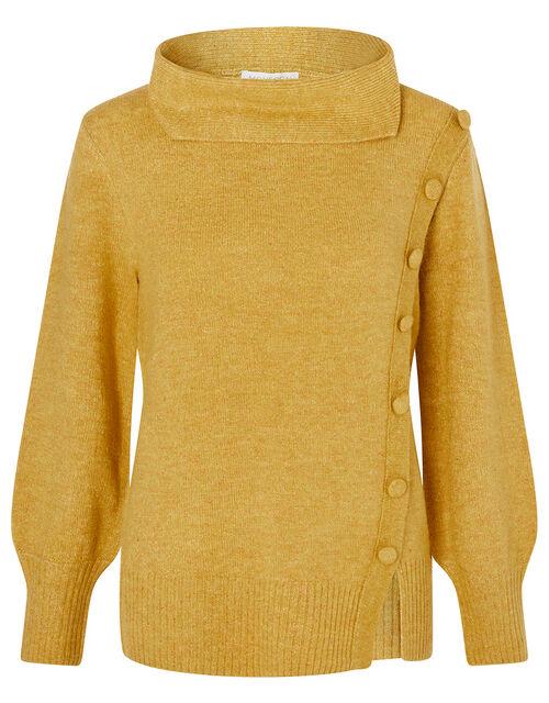 Button Side Knit Jumper, Yellow (OCHRE), large