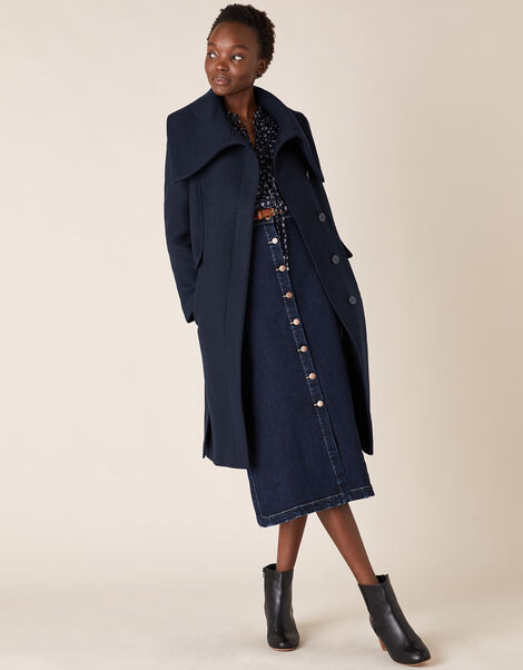 Keryn Wrap Collar Belted Coat Blue, Blue (NAVY), large