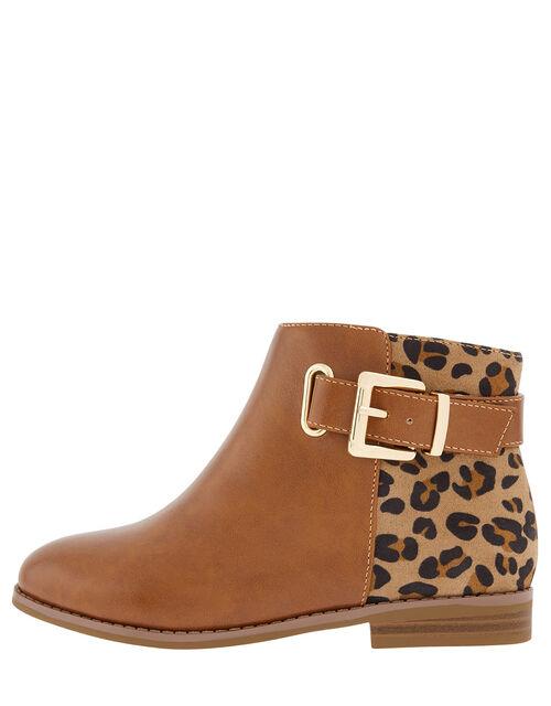 Mollie Leopard Ankle Boots, Tan (TAN), large