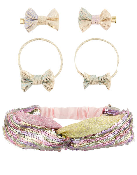 Rainbow Shimmer Hair Accessory Set, , large
