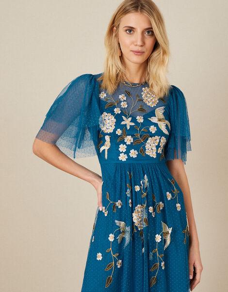Bailee Embroidered Bird Dress Blue, Blue (AQUA), large