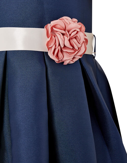 Corsage Belt Puff Sleeve Dress, Blue (NAVY), large