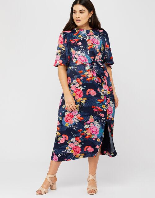 Trudy Print Midi Dress, Navy, large