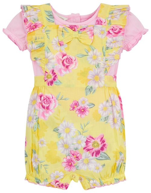 Newborn Baby Floral Romper Set, Yellow (YELLOW), large